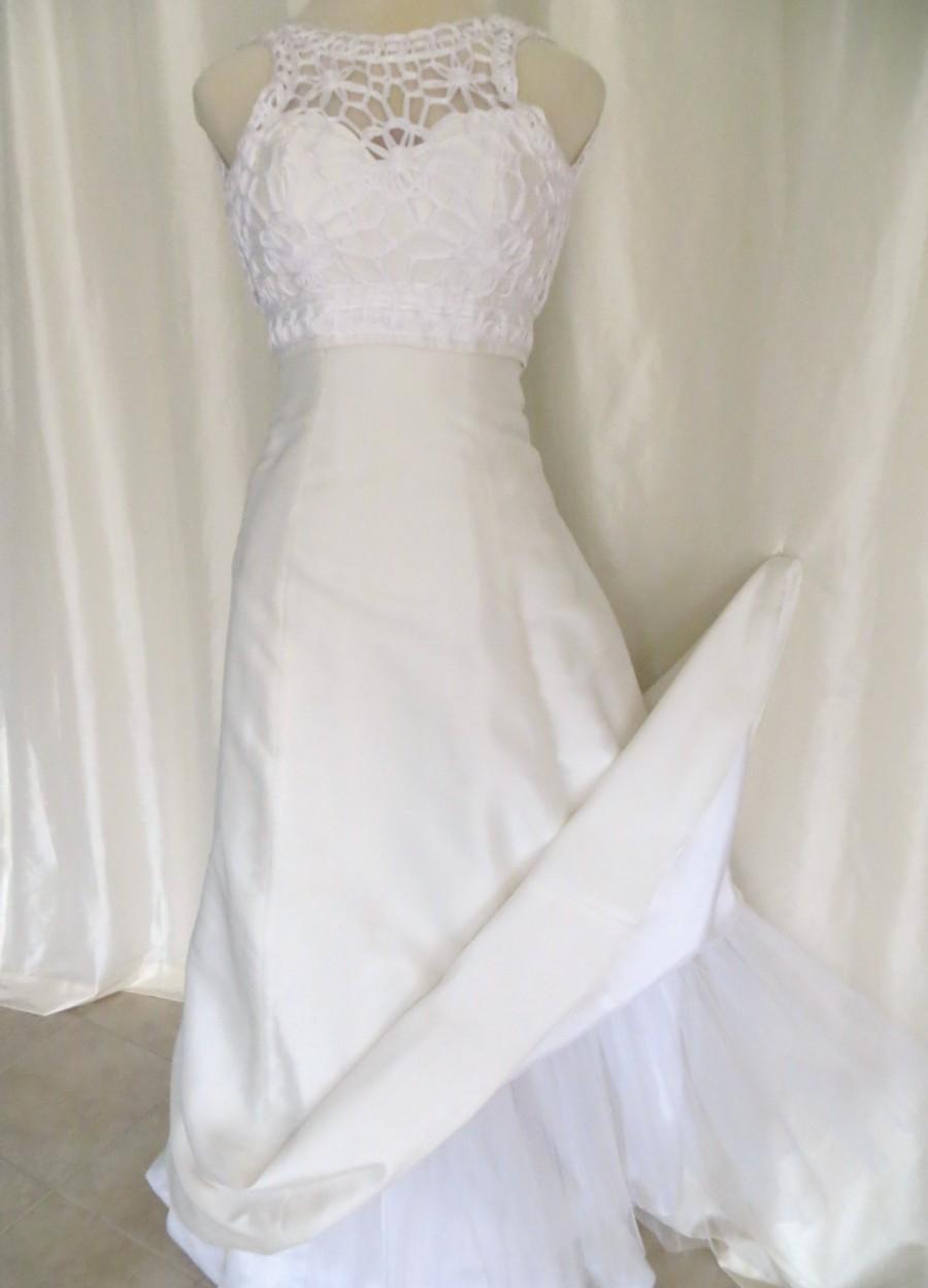 06a9fe8ae2ea Vintage 70s bridal gown wedding dress white Summer sleeveless halter top  crinoline slip macrame empire waist