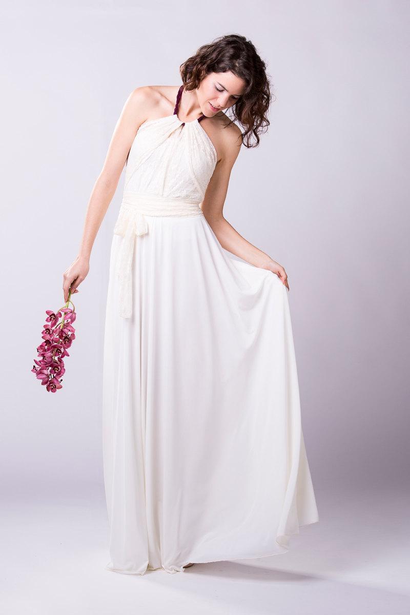 Wedding - Lace wedding dress, boho wedding ivory long dress, lace wedding dress ball gown, white lace dress, romantic wedding dress, long white dress