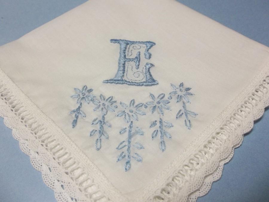 Hochzeit - Something blue, wedding handkerchief, Satin stitched monogram, personalized hankie, bridal gift, bridal hanky, hand embroidered,