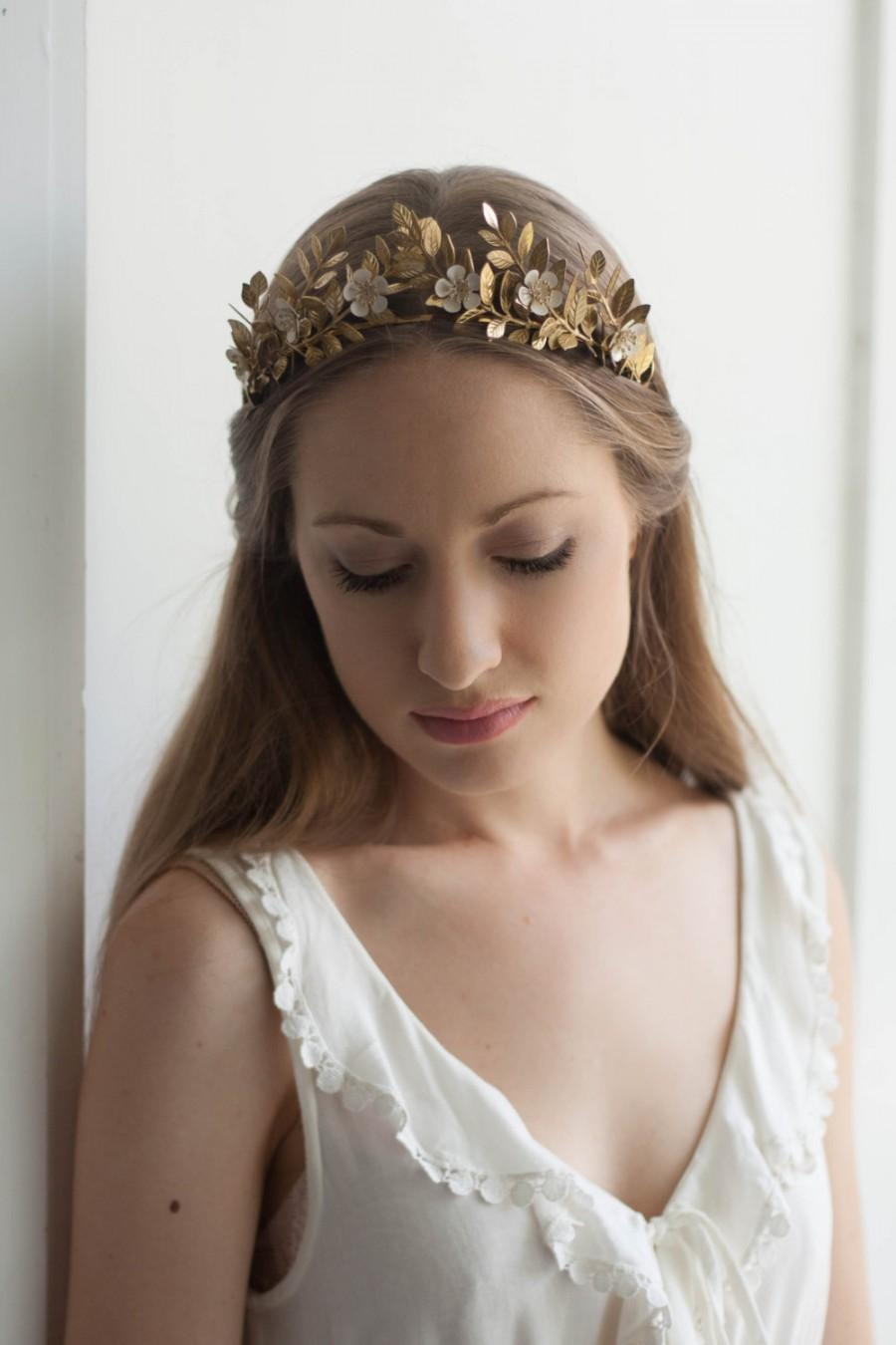 Laurel Leaf Flower Crown Gold Tiara Leaf Halo Gold Leaf Headpiece