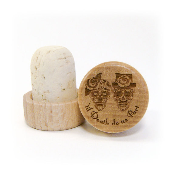 Personalized Wine Stopper Wedding Favor Rustic Sugar Skull Til Do Us Part Custom Design Laser Engraved With Your Initials Date