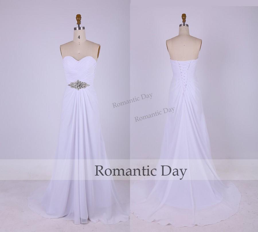 Wedding - Simple&Elegant White Sweetheart Beach Wedding Dresses/Chiffon Wedding Dress/Prom Dresses/Evening Dress/Chiffon A-Line Long Dress 0330