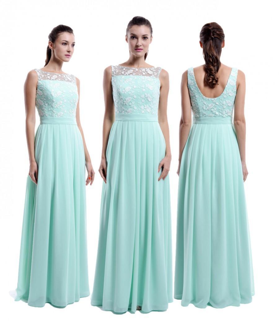 Свадьба - Mint Long Lace Chiffon Bridesmaid Dress, Straps Bateau Neck Cheap Lace Bridesmaid Dress, Mint Prom Dress