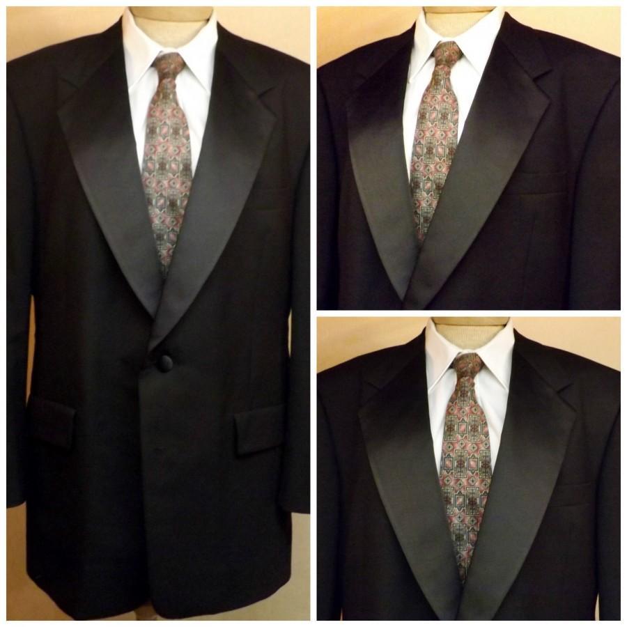 Hochzeit - Vintage Tuxedo Mens 60s 2 Pc Tuxedo Black Silks Size 42R