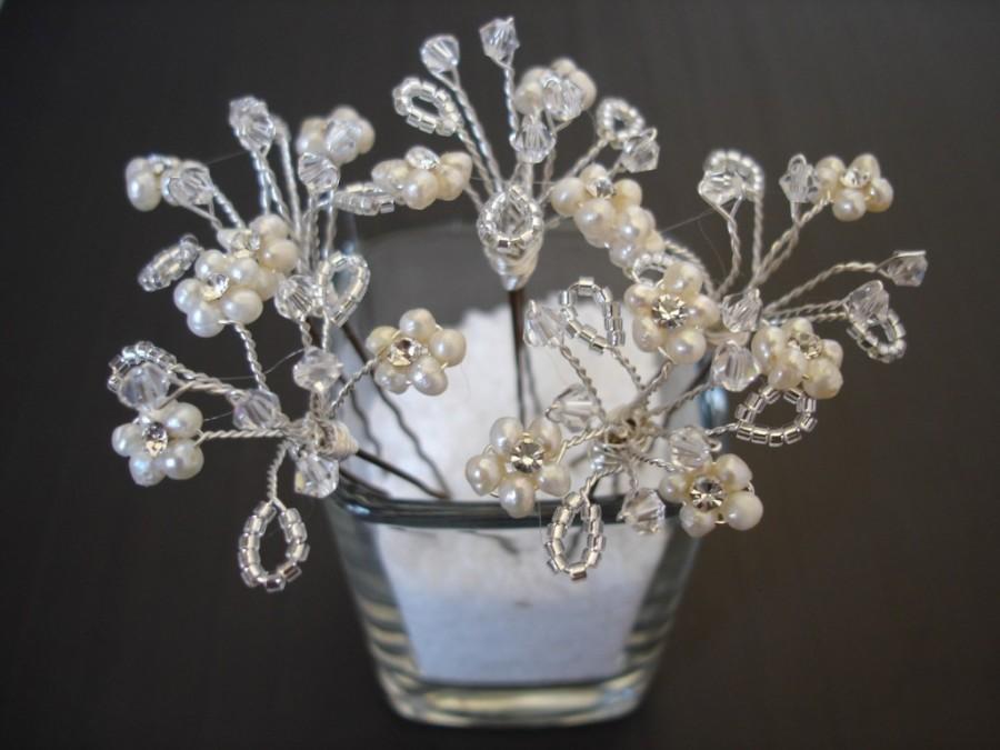 Mariage - Bridal Hair Pins, Freshwater Pearl and Crystal Hair Pins, Set of Five