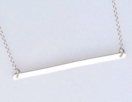 Wedding - Long Sterling Silver Bar Necklace, Silver Bar Pendant, Simple Silver Necklace, Thin Silver Line, Sterling Bar