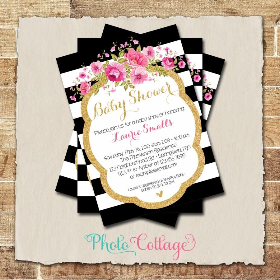 Baby Shower Invitation, Glitter Gold, Pink Invitation ...