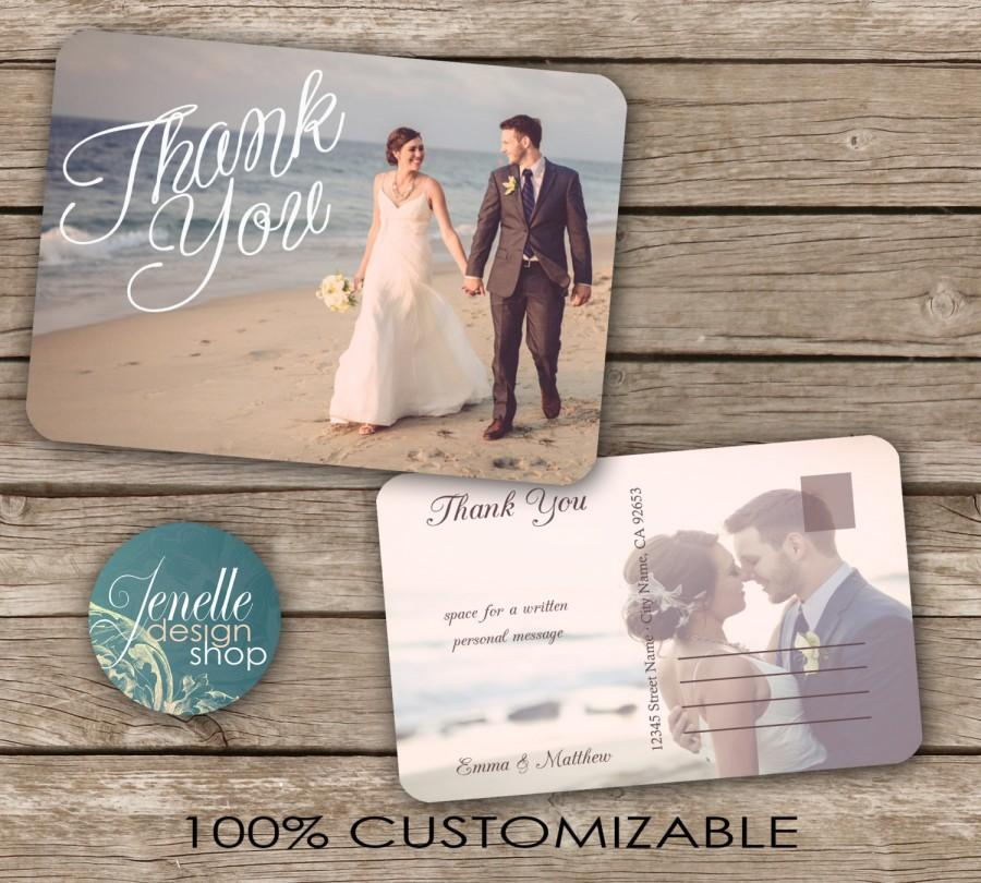 Свадьба - Classic Wedding Thank You Postcard - printable card