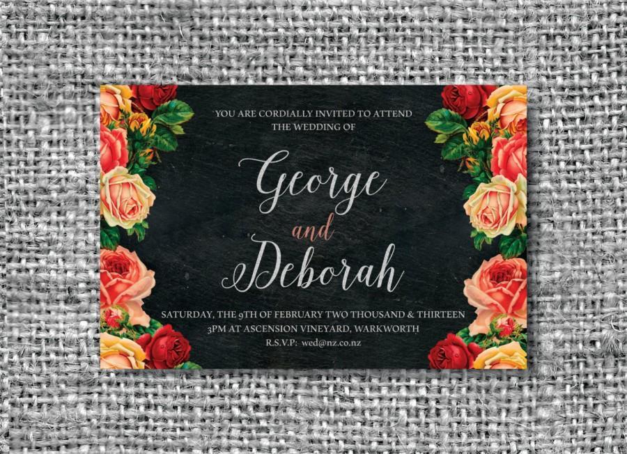 Свадьба - Chalkboard wedding invitation, 6 x 4 printable, customize to suit you