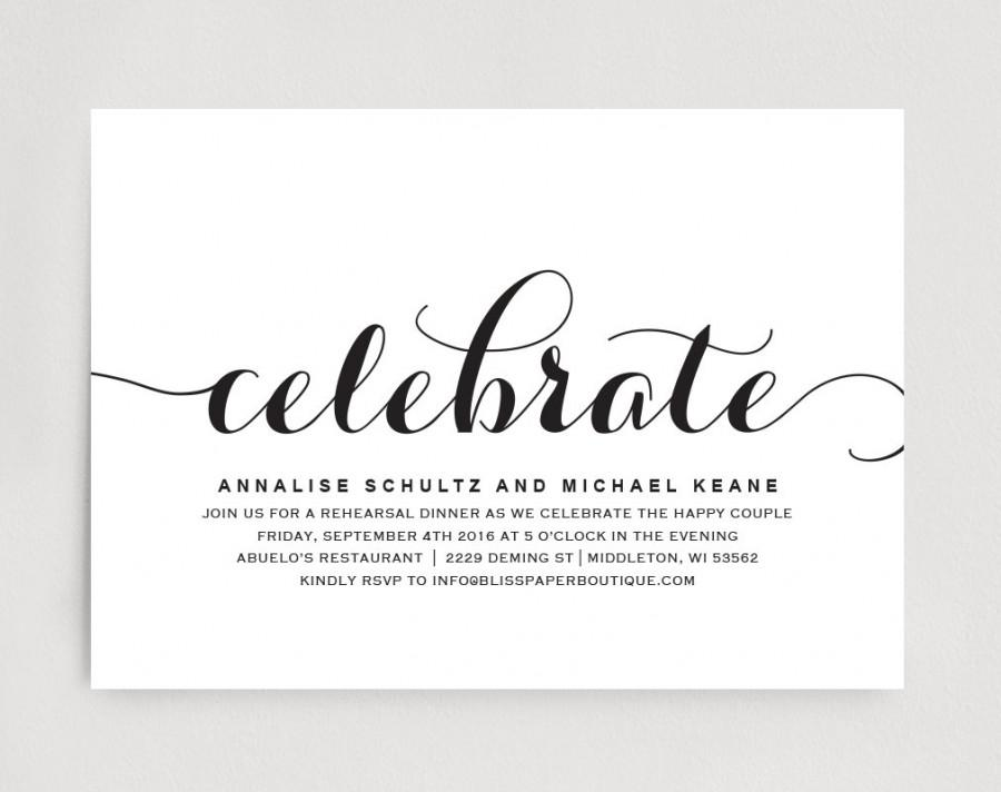 Wedding Rehearsal Dinner Invitation Editable Printable Template