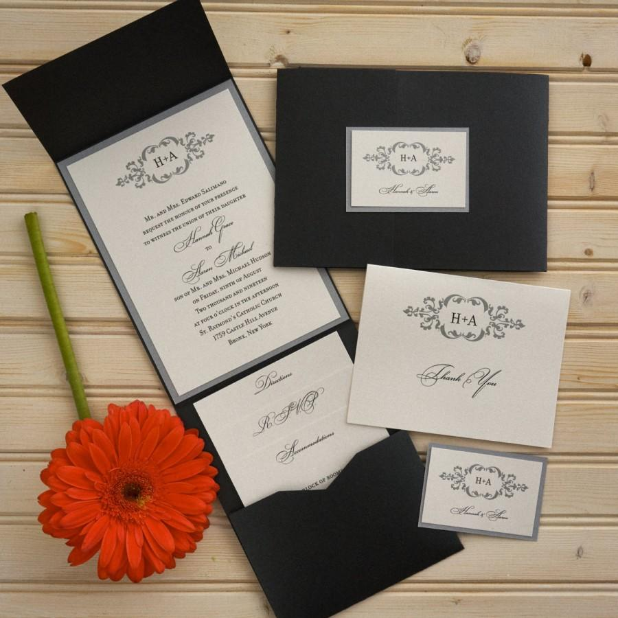 Wedding - Initial Wedding Invitation Set - Thermography Wedding Invite - Classic Wedding Invite - Wedding Invite Suite