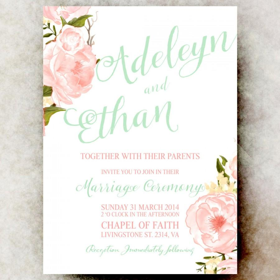 floral watercolor wedding invitation mint pink coral wedding