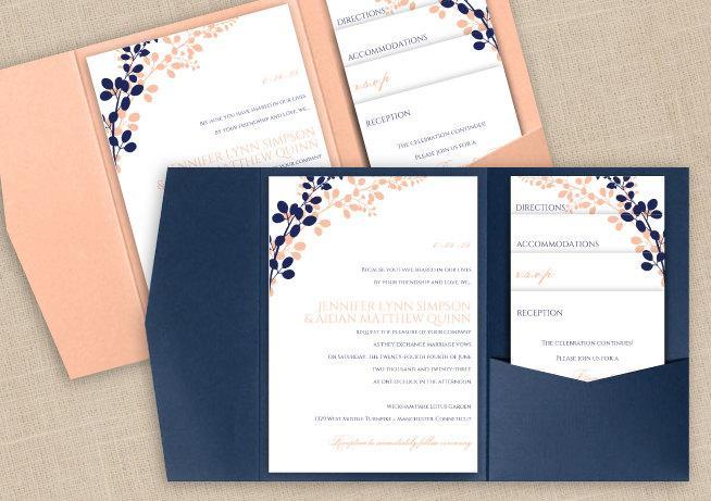Navy And Peach Wedding Invitations: DiY Pocket Wedding Invitation Template Set