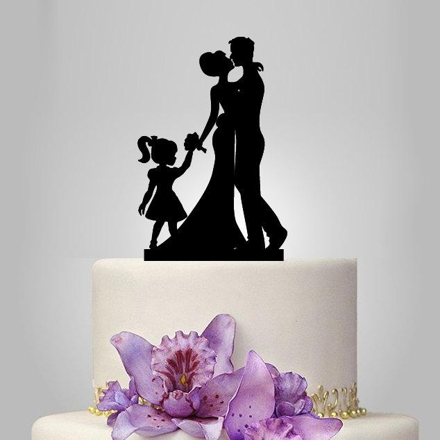Mariage - Bride Groom Silhouette Wedding Cake Topper,  acrylic Cake Decoration, family cake topper with little girl, funny ,unique topper