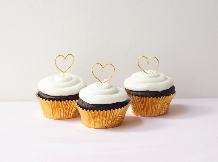 Gold Hearts Wedding Cupcake Toppers Cupcakes Heart Topper Rustic Chic Woodland Romantic Cake Accessory