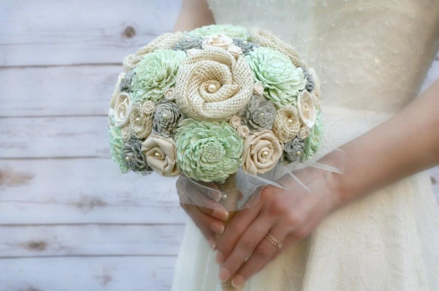 Hand Dyed Pastel Mint & Soft Grey Bride\'s Wedding Bouquet - Ivory ...