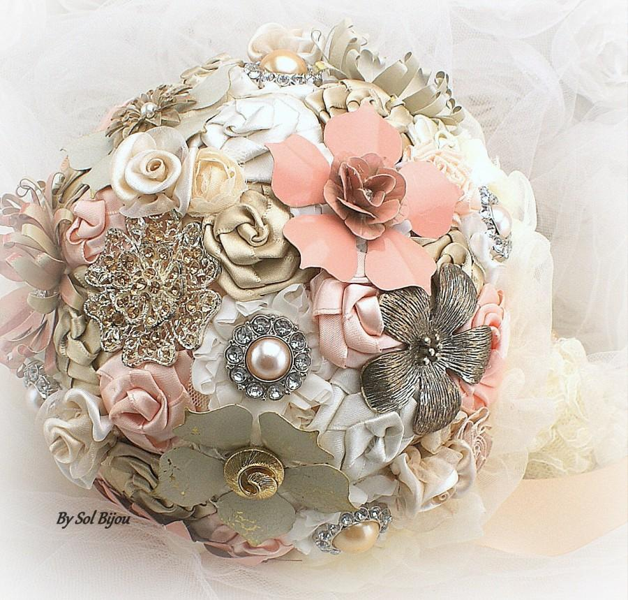 Свадьба - Brooch Bouquet, Ivory, Cream, Blush, Peach, Coral, Champagne, Bridal, Elegant Wedding, Vintage Style, Jeweled, Lace, Pearls, Crystals