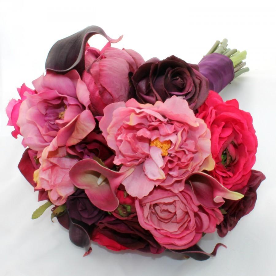Mariage - SALE Raspberry Ripple Bridal Bouquet