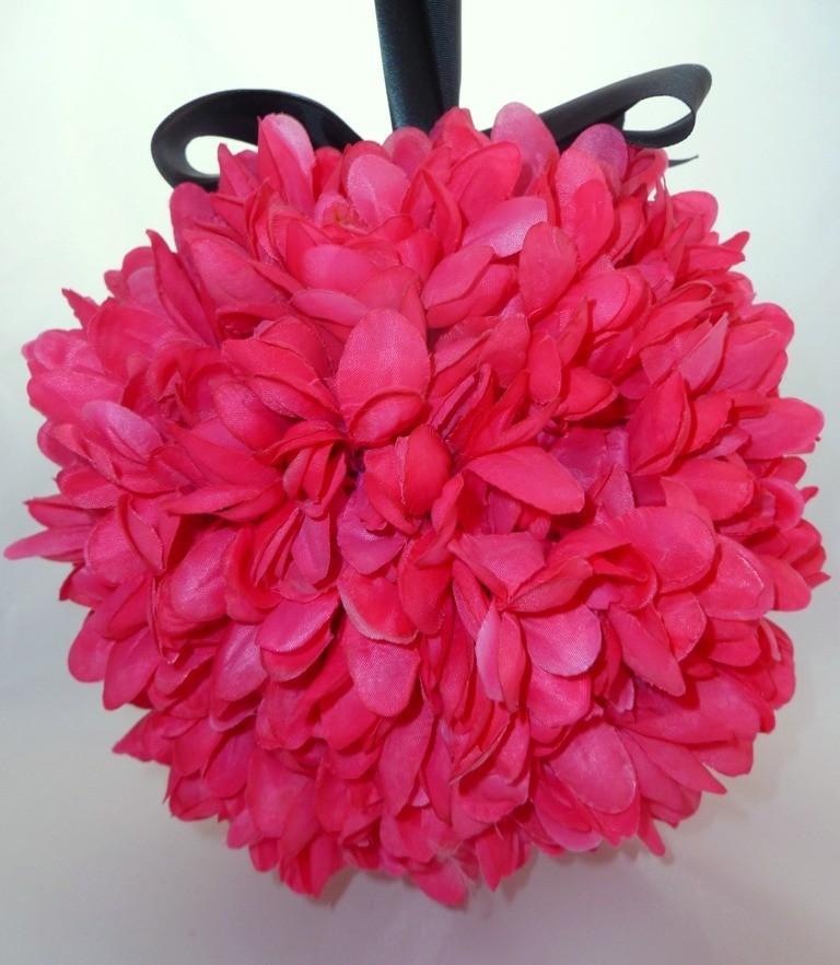 Свадьба - SALE Hot for Pink Pomander with Black Satin Ribbon