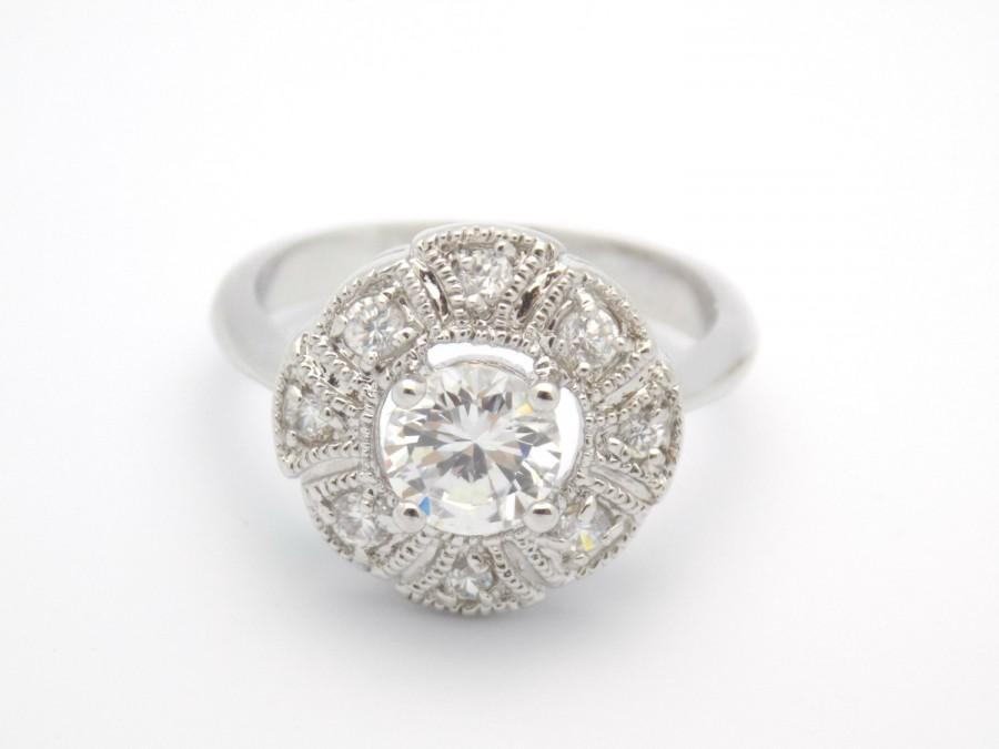 art deco engagement ring wedding ring vintage inspired round cut halo cluster style ring size 5 6 7 8 9 10 mc1080341az - Vintage Inspired Wedding Rings