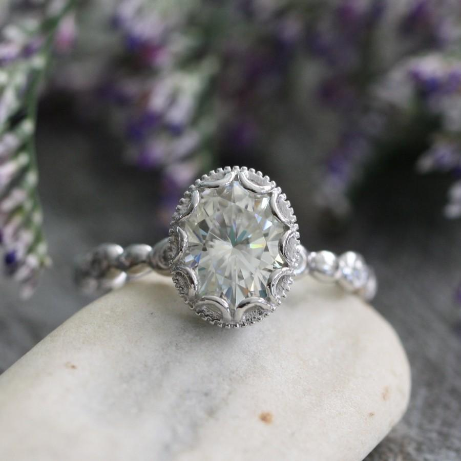 vintage inspired floral moissanite engagement ring in 14k white gold pebble diamond wedding band 9x7mm forever brilliant moissanite ring - Vintage Inspired Wedding Rings
