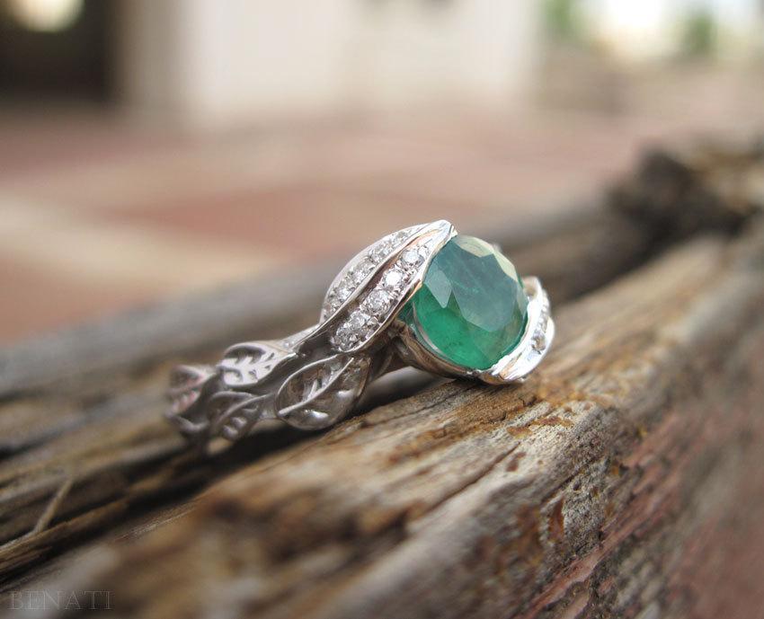 Mariage - Emerald Engagement Ring, Platinum Emerald Leaves Ring, Platinum Leaf Ring, Leaf Emerald Engagement Ring, Natural Floral Emerald Leaves Ring