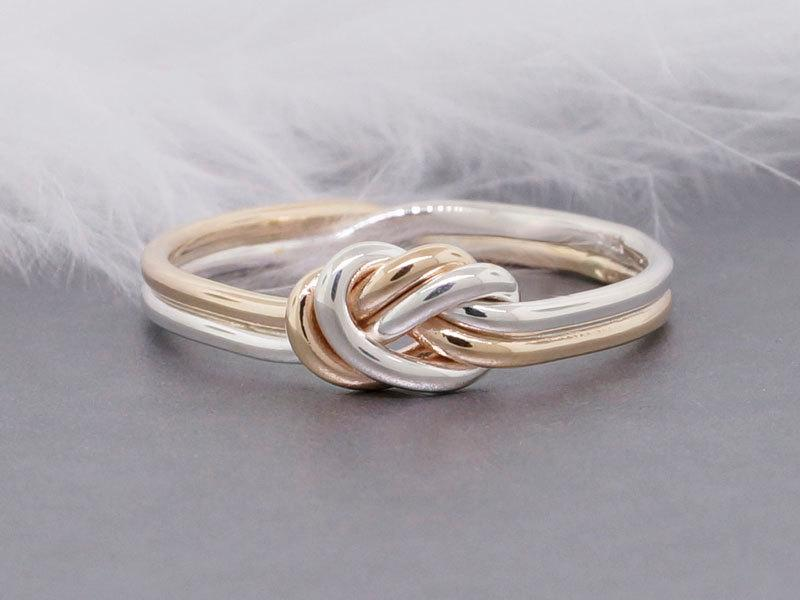 Nautical Engagement Ring 14k Solid Gold And Sterling Silver Love