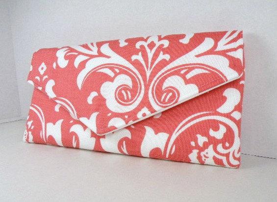 زفاف - Envelope Clutch/Purse/Wedding/Bridesmaid Gift--Coral & White-OZBORNE Damask