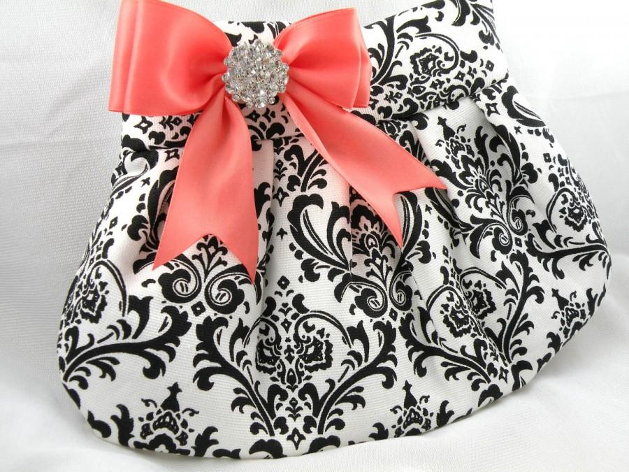 Mariage - Weddings Bride Bridesmaid Pleated Clutch Evening Bag Purse  MADISON DAMASK Black and White with Coral Satin Bow and Clear Crystal
