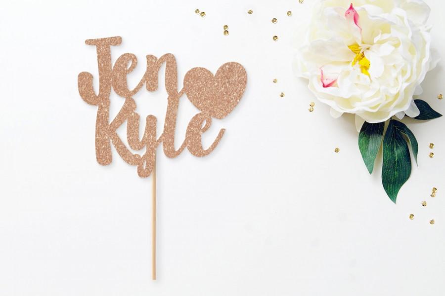 Свадьба - Personalized heart glitter wedding cake topper