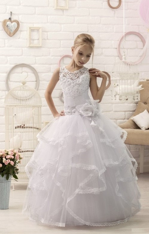 Свадьба - White Lace Flower Girl Dress First Communion Dress