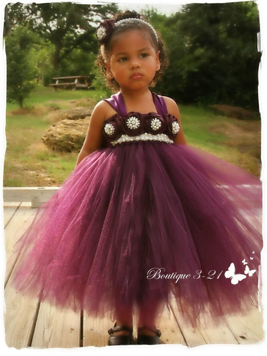 Mariage - Eggplant Flower Girl Dress, Plum Flower Girl Dress, Plum tutu dress, Eggplant tutu dress