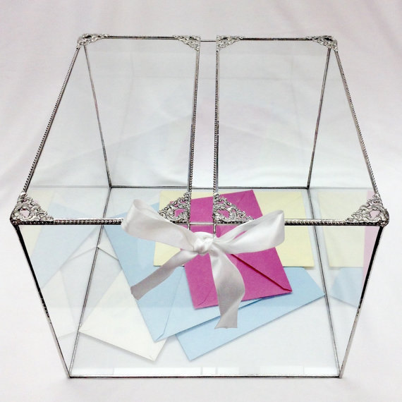 Large Glass Wedding Card Box With A 2 Piece Hinged Lid Adorned – Large Wedding Card Box
