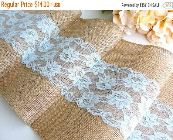 ON SALE Burlap Table Runner Wedding Pastel Turquoise Lace Rustic Decor Handmade In The U