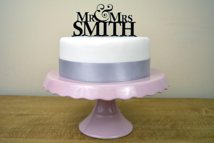 Personalised mr mrs simple wedding cake topper choose any colour personalised mr mrs simple wedding cake topper choose any colour junglespirit Gallery