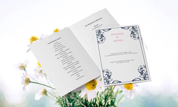 Wedding - Wedding Program Templates - Editable PDF - 8.5 x 11 Navy Damask Foldover Wedding Ceremony Program - Instant Download - DIY You Print