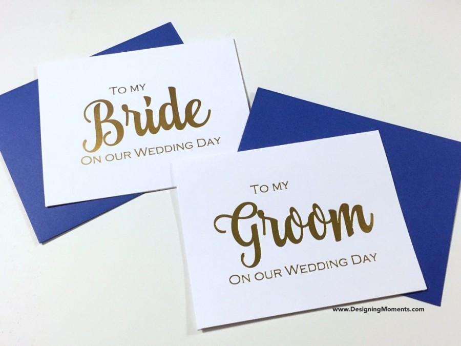 Свадьба - Gold Foil to My Bride and Groom Wedding Day Card - Bride and Groom - Gold Foil Wedding Day Card - Husband and Wife Cards - Wedding DM136