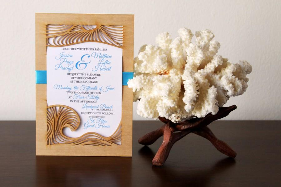 Wedding - Beach Wedding Invitation and Response Card made from Wood and Paper - SAMPLE LISTING