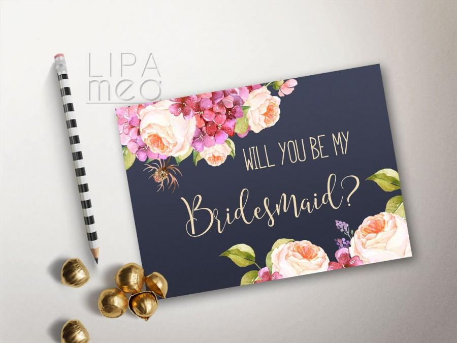 photograph relating to Printable Bridesmaid Cards called Will By yourself Be My Bridesmaid Card Printable, Floral Bridesmaid