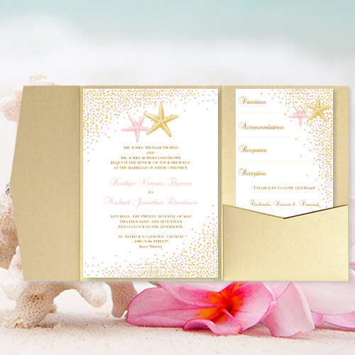 "Wedding - DIY Pocket Fold Beach Wedding Invitation ""Confetti Starfish"" Blush Pink & Gold Printable Templates Tropical, Hawaiian, Destination You Print"