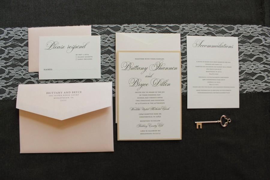Formal Gold Wedding Invitation   Champagne And Blush Pink Wedding   Simple,  Elegant, Traditional   Custom Invitation   Brittany And Bryce