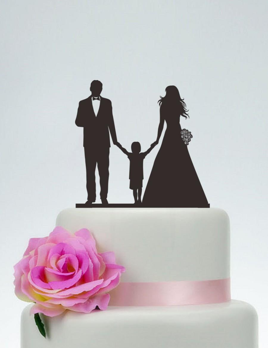 bride and groom and little boy cake topper wedding cake topper