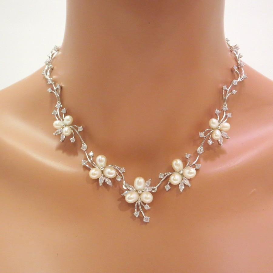 Pearl Bridal Necklace Set Earrings Wedding Jewelry Freshwater Rhinestone