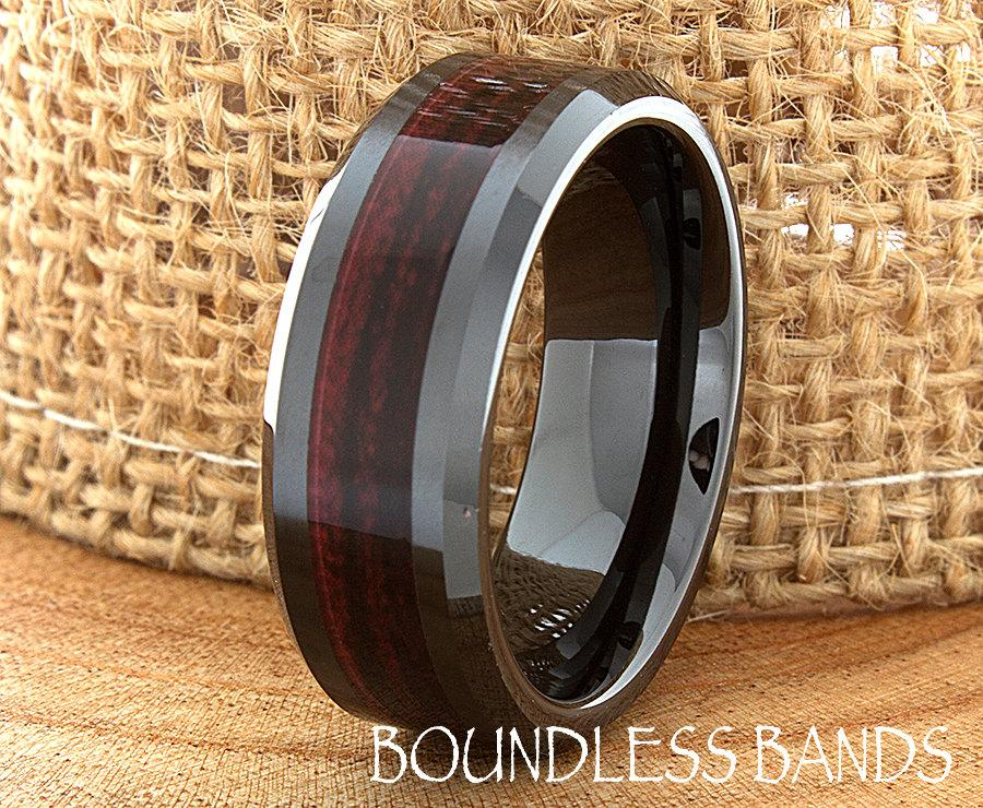 زفاف - Ceramic Wedding Ring Wood Mens Wedding Band Black Ceramic Band Wood Inlay Band His Classic New Design Fashion Anniversary Modern 8mm Mens