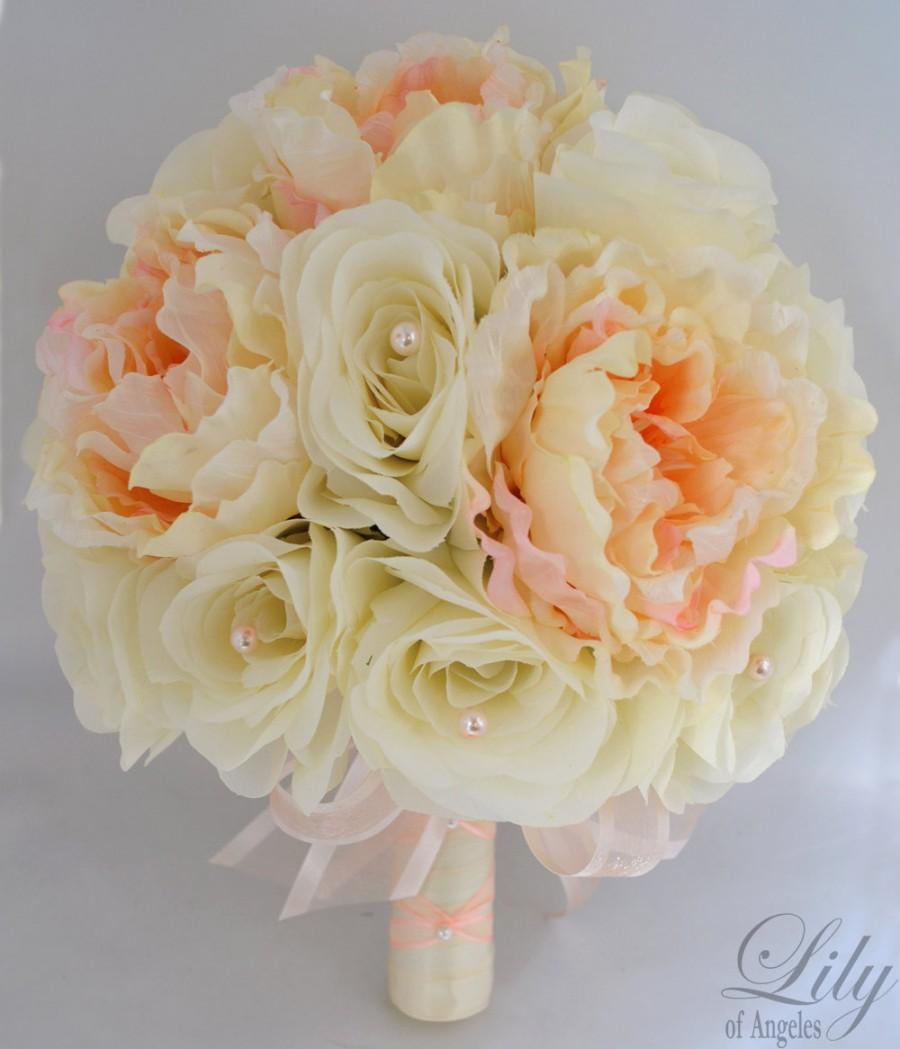 "Mariage - 17 Pieces Wedding Bridal Bride Maid Of Honor Bridesmaid Bouquet Boutonniere Corsage Silk Flower PEACH IVORY ""Lily Of Angeles"" IVPI03"
