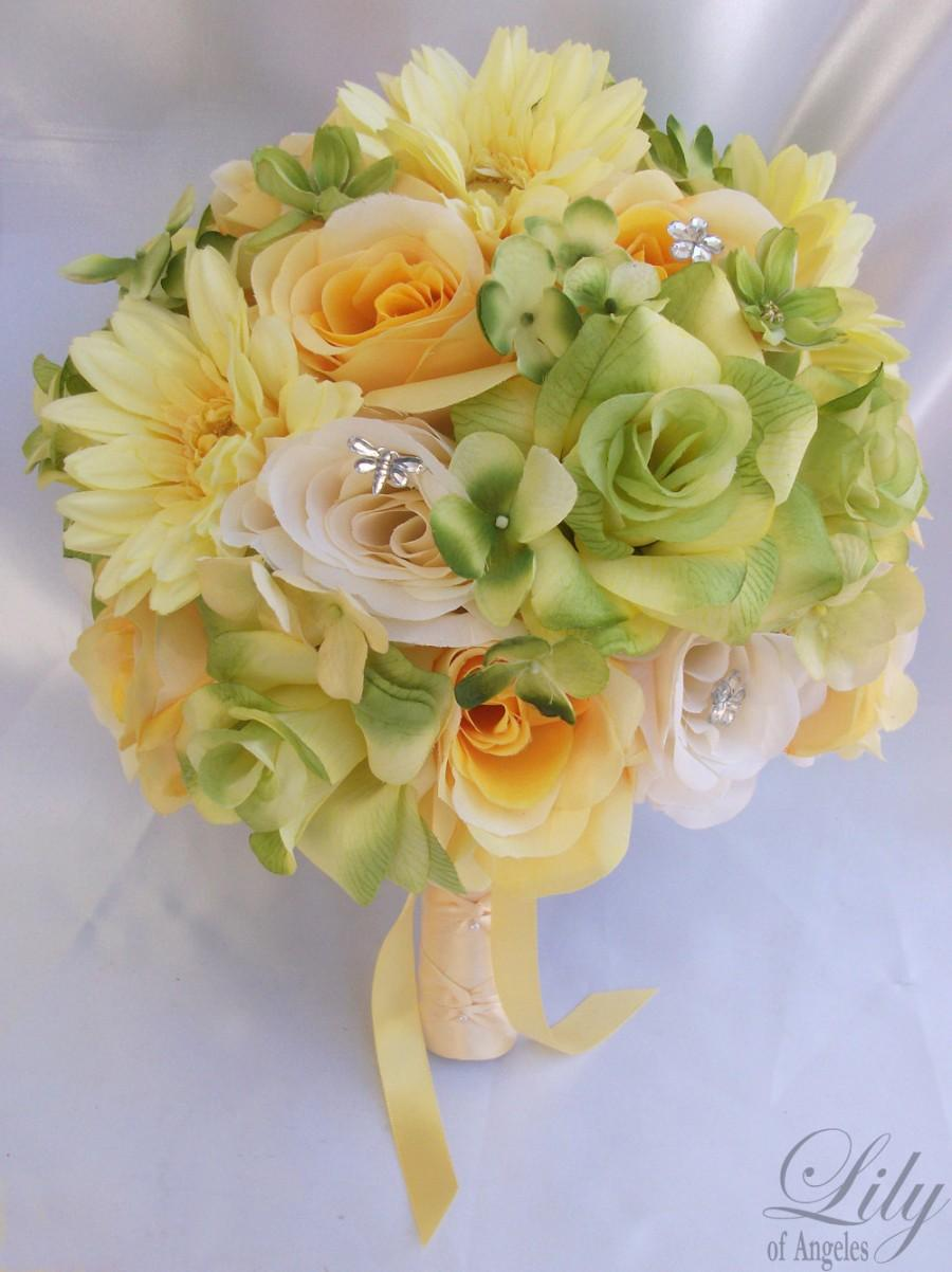 "Mariage - 17pcs Wedding Bridal Bouquet Set Decoration Package Silk Flowers YELLOW GREEN ""Lily Of Angeles"""