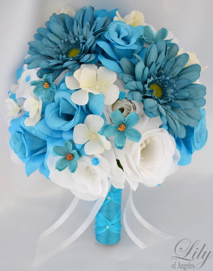 "Mariage - 17 Piece Package Wedding Bridal Bride Bouquet Silk Flower Decoration Centerpieces Flowers TURQUOISE MALIBU TEAL White ""Lily of Angeles"""