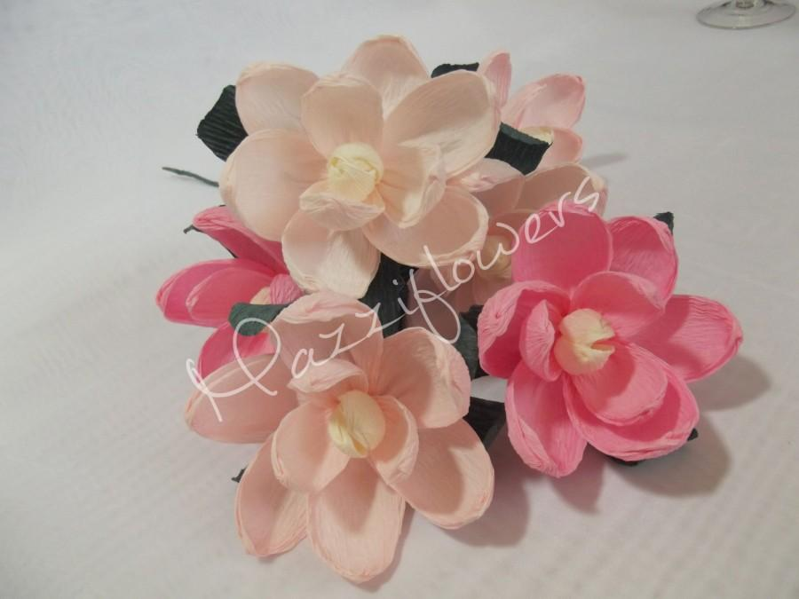 Mariage - Bridal paper flower,wedding paper flower,paper flower ,flower paper decor,magnolias paper flowe r ,bridal flower,wedding flower,flower 3pcs.