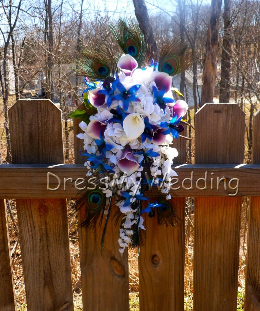 Mariage - Cascading Purple blue dendrobium orchid bouquet peacock feathers, hydrangeas, wisterias, picasso calla lilies
