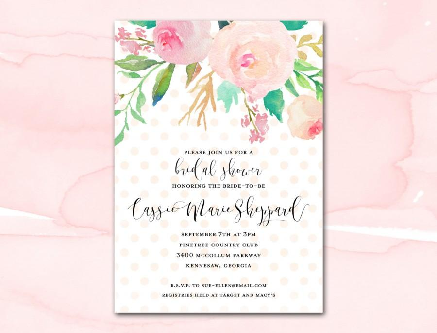 Captivating Bridal Shower Invitation Printable, Blush Watercolor Floral Polka Dot Bridal  Shower Invitation, Printable Bridal Shower Invite, Pink Gold